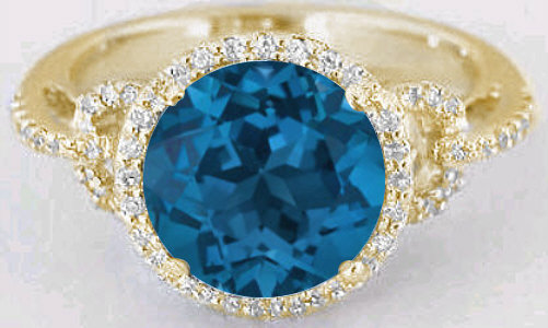 Round London Blue Topaz And Diamond Halo Ring In 14k Yellow Gold Gr 6084
