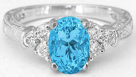 Engraved Blue Topaz Diamond Rings