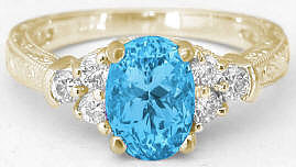 Swiss Blue Topaz Engraved Engagement Rings