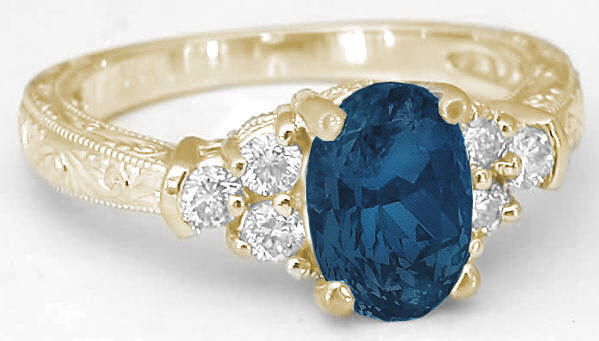 London Blue Topaz Ring With Engraving Gr 6094