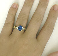 London Blue Topaz Diamond Ring in Yellow Gold