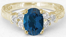 Vintage Blue Topaz Rings in 14k