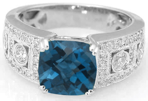 2 95 Ctw Cushion Cut London Blue Topaz And Diamond Wide Band Ring