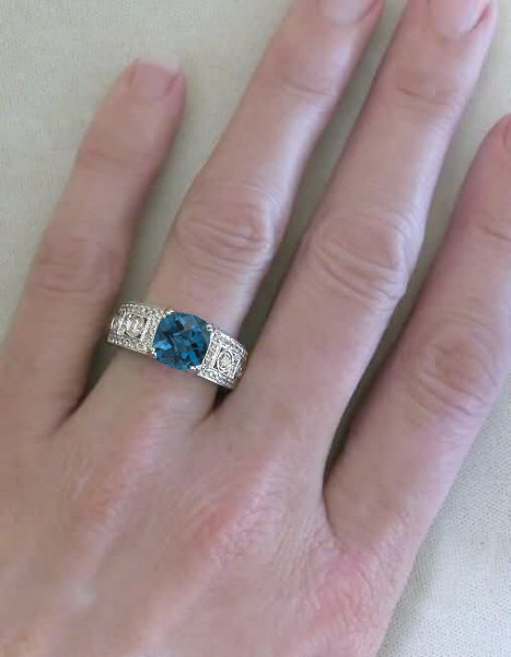 Cushion Cut London Blue Topaz Ring With Milgrain Edging In