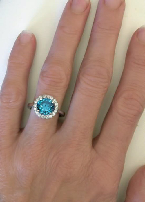 Natural Blue Diamond Ring
