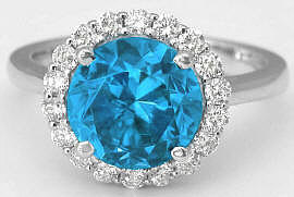 Blue Zircon and Diamond Halo Engagement Ring in 14k