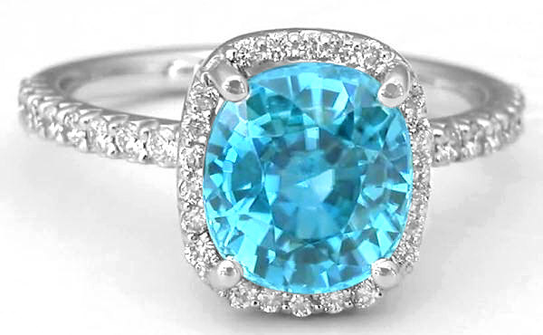 Cushion Cut Blue Zircon Engagement Ring In 14k White Gold