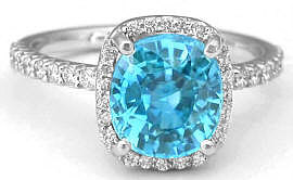 Blue Zircon and Diamond Halo Engagement Ring in 14k white gold
