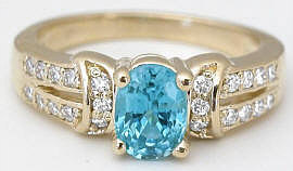 1.50 ctw Blue Zircon and Diamond Ring in 14k yellow gold