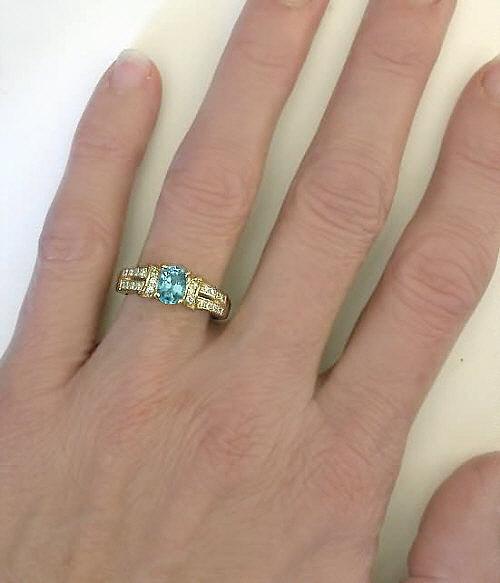 Blue Zircon Ring With Diamonds