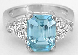 Emerald Cut Blue Zircon and Diamond Ring in 14k white gold