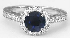 Blue Sapphire Diamond Halo Ring in Gold