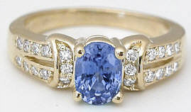 Ceylon Sapphire Diamond Ring in Yellow Gold