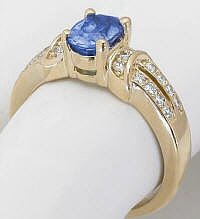 Ceylon Oval Sapphire Engagement Ring in 14k
