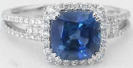 Cushion Cut Blue Sapphire Engagement Rings