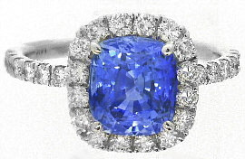 3.57 ctw Ceylon Sapphire and Diamond Halo Ring in 14k white gold