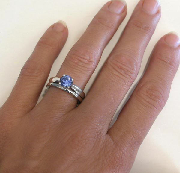 Natural Ceylon Sapphire Solitaire Engagement Ring and Plain Wedding Band in 1