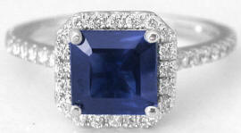 1.97 ctw Princess Cut Blue Sapphire and Diamond Ring in 14k white gold