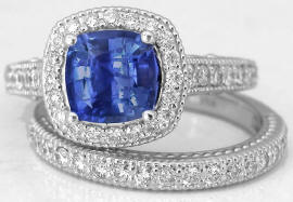 Ceylon Sapphire and Diamond Ring in 14k white gold