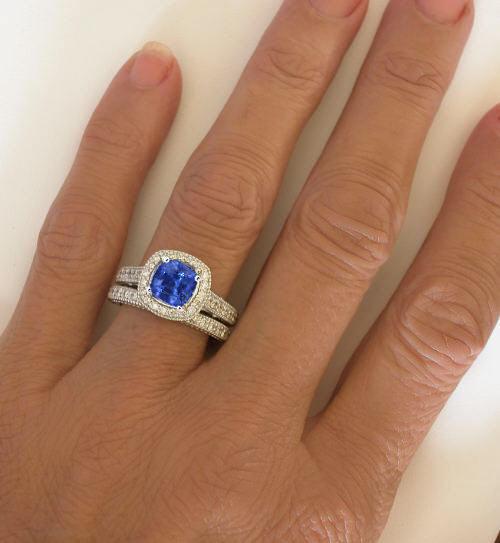 Diamond Halo Sapphire Rings Gr 5963