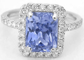 Radiant Cut Sapphire Diamond Ring in 14k white gold