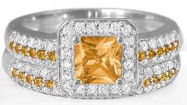 Princess Cut Citrine and Diamond Engagement Ring in 14k white gold
