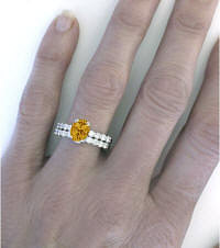 Citrine Engagement Ring with Wedding Band