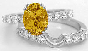 Citrine and Diamond Engagement Ring with Matching Band