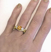 Unique Round Citrine White Sapphire Engagement Rings in 14k Yellow Gold