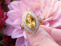 Marquise Citrine Fashion Ring with Real Diamond Halo in solid 14k two tone gold