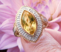 Marquise Citrine Ring with Real Diamond Halo in solid 14k gold for sale
