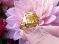 Custom Designer Bold Unique Bold One of a Kind Bezel Set Emerald Cut Citrine Ring in heavy 14k yellow gold