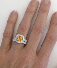 Antique Style Citrine and Diamond Halo Engagement Ring in 14k