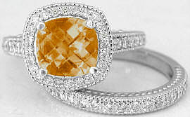Cushion Cut Citrine and Diamond Engagement Ring and Wedding Band