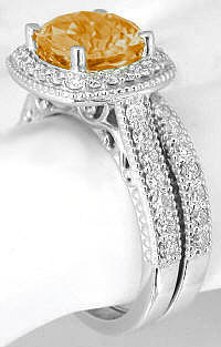8mm Checkerboard Citrine and Diamond Engagement Ring in 14k