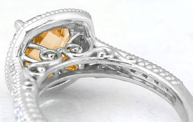 Filigree 8mm Citrine and Diamond Ring in 14k