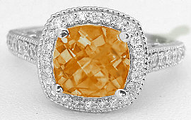 8mm Citrine and Diamond Ring in 14k