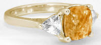 8mm Checkerboard Cut Citrine Trillion White Sapphire Ring in 14k Yellow Gold