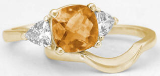 Citrine and White Sapphire Engagement Rings in 14k