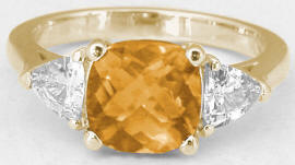 Golden Citrine Trillion White Sapphire Ring in 14k Yellow Gold