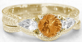 Round Citrine White Sapphire Engagement Rings in 14k Yellow Gold