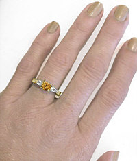 Ornate Engraved Citrine Three Stone Rings in 14k Yellow Gold