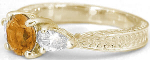 Round Citrine Three Stone Rings in 14k Yellow Gold with Engraving