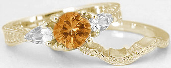 Three Stone Round Citrine White Sapphire Engagement Rings in 14k Yellow Gold