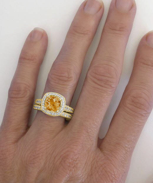 Citrine Topaz Engagement Rings
