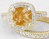 Filigree Citrine Diamond Ring and Matching Band in 14k Gold