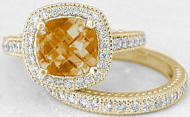 Citrine Diamond Engagement Rings with Matching Band in 14k Yellow Gold