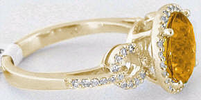 Citrine and Diamond Wedding Rings in 14k Gold