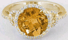 Citrine Gemstone Diamond Engagement Rings in 14k Gold