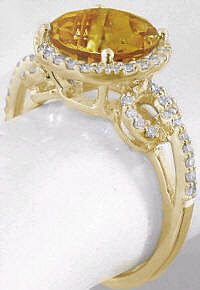 November Birthstone Citrine Diamond Rings in 14k Gold